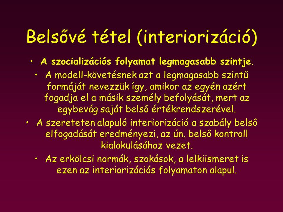 Belsővé tétel (interiorizáció) A szocializációs folyamat legmagasabb szintje. A modell-követésnek azt a legmagasabb szintű formáját nevezzük így, amik