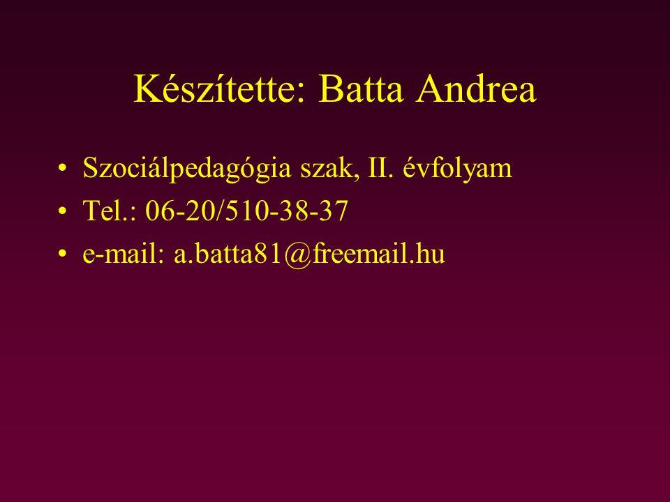 Készítette: Batta Andrea Szociálpedagógia szak, II. évfolyam Tel.: 06-20/510-38-37 e-mail: a.batta81@freemail.hu