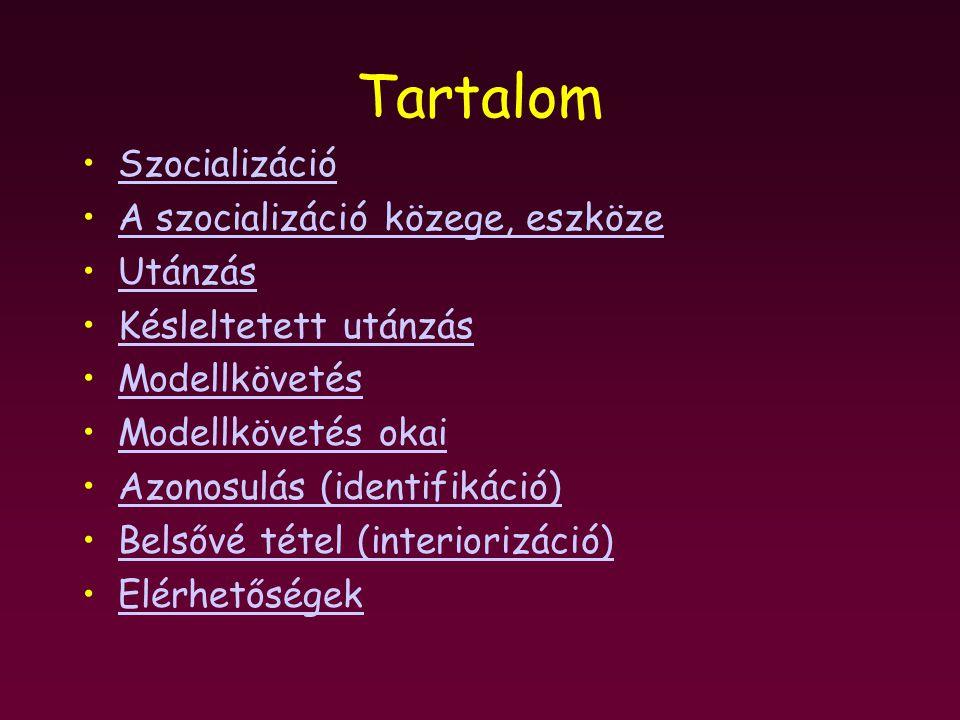 Tartalom Szocializáció A szocializáció közege, eszköze Utánzás Késleltetett utánzás Modellkövetés Modellkövetés okai Azonosulás (identifikáció) Belsővé tétel (interiorizáció) Elérhetőségek