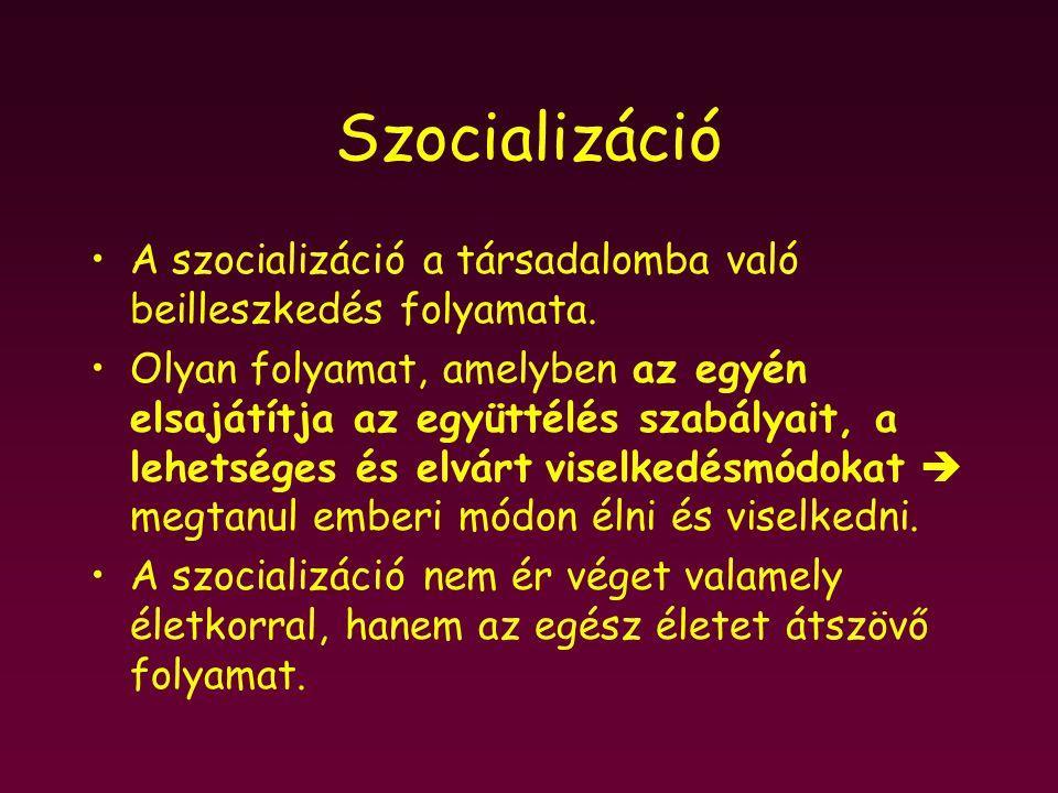 Szocializáció A szocializáció a társadalomba való beilleszkedés folyamata. Olyan folyamat, amelyben az egyén elsajátítja az együttélés szabályait, a l