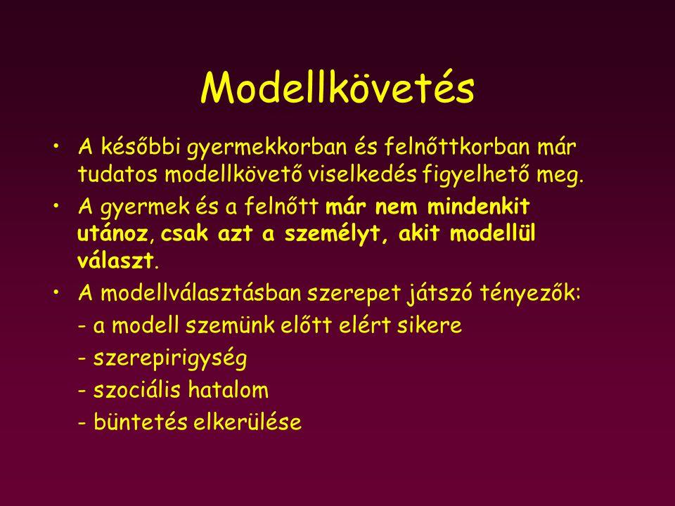 Modellkövetés A későbbi gyermekkorban és felnőttkorban már tudatos modellkövető viselkedés figyelhető meg. A gyermek és a felnőtt már nem mindenkit ut
