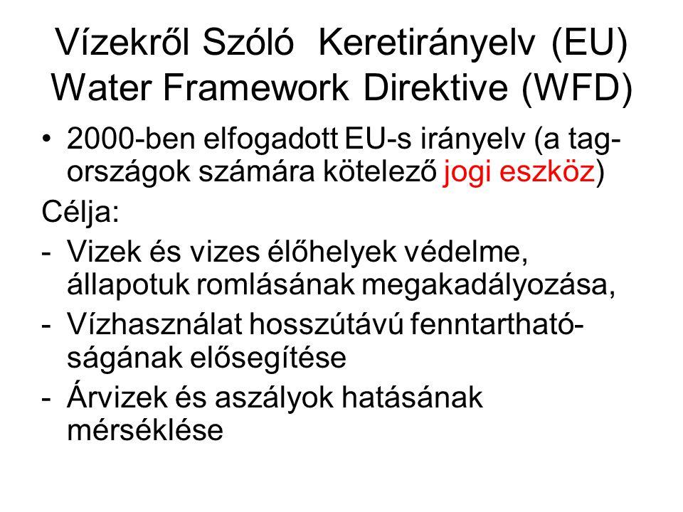 Vízekről Szóló Keretirányelv (EU) Water Framework Direktive (WFD) 2000-ben elfogadott EU-s irányelv (a tag- országok számára kötelező jogi eszköz) Cél