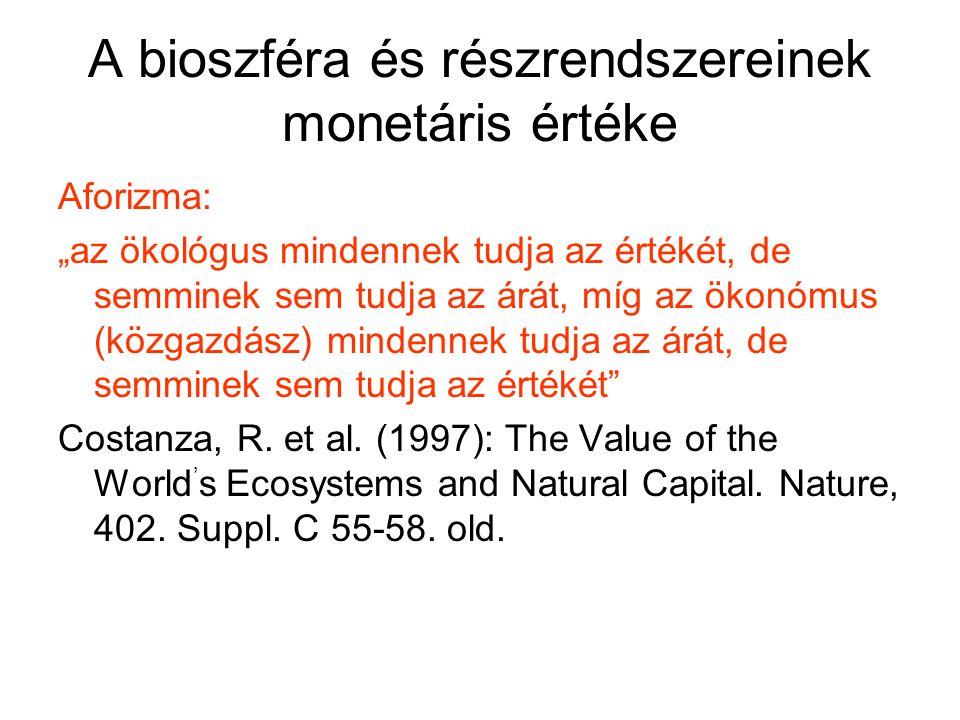 """A bioszféra és részrendszereinek monetáris értéke Aforizma: """"az ökológus mindennek tudja az értékét, de semminek sem tudja az árát, míg az ökonómus (k"""