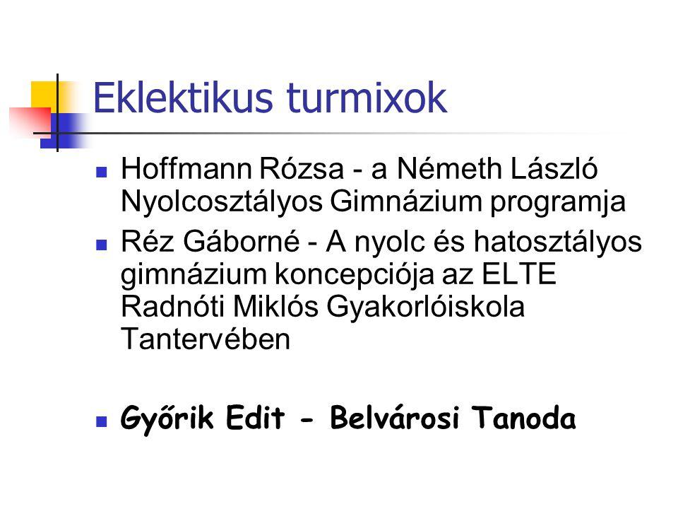 Eklektikus turmixok Hoffmann Rózsa - a Németh László Nyolcosztályos Gimnázium programja Réz Gáborné - A nyolc és hatosztályos gimnázium koncepciója az