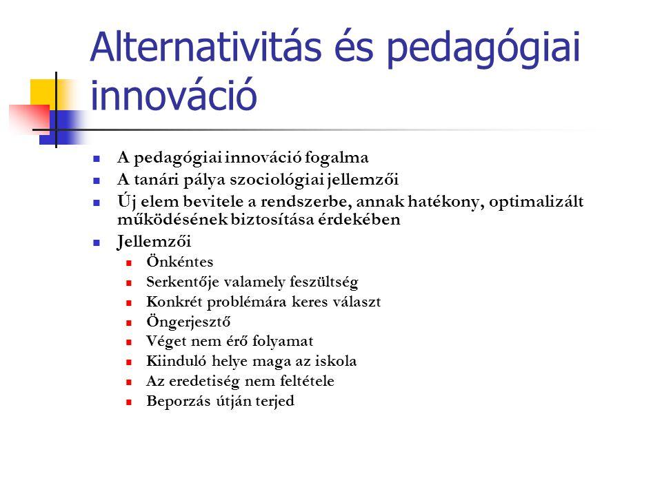 Alternativitás és pedagógiai innováció A pedagógiai innováció fogalma A tanári pálya szociológiai jellemzői Új elem bevitele a rendszerbe, annak haték