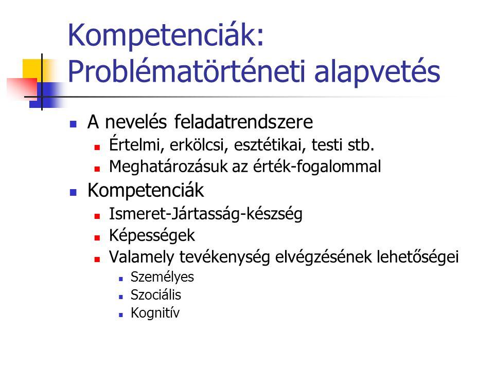 Kompetenciák: Problématörténeti alapvetés A nevelés feladatrendszere Értelmi, erkölcsi, esztétikai, testi stb. Meghatározásuk az érték-fogalommal Komp