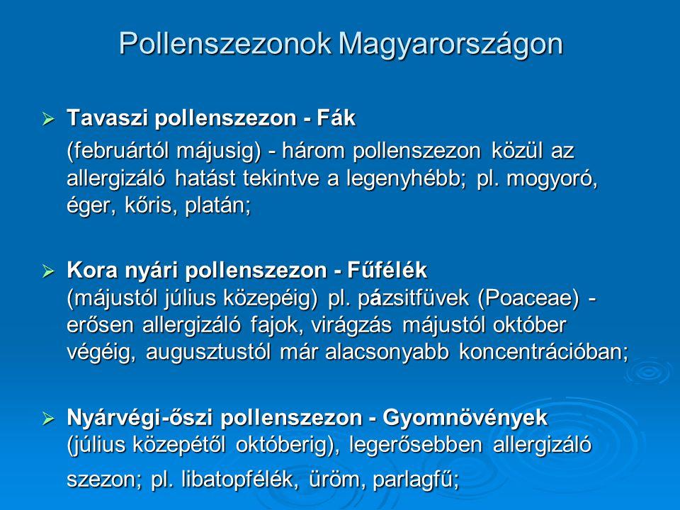 Pollenszezonok Magyarországon  Tavaszi pollenszezon - Fák (februártól májusig) - három pollenszezon közül az allergizáló hatást tekintve a legenyhébb
