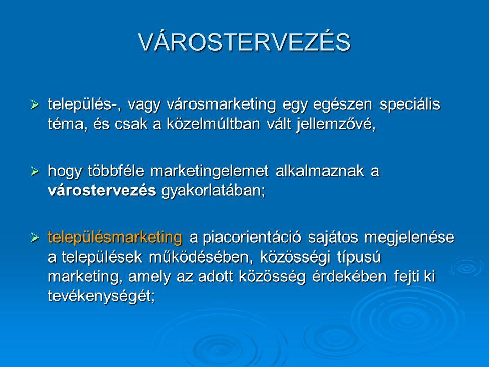 VÁROSTERVEZÉS  település-, vagy városmarketing egy egészen speciális téma, és csak a közelmúltban vált jellemzővé,  hogy többféle marketingelemet al