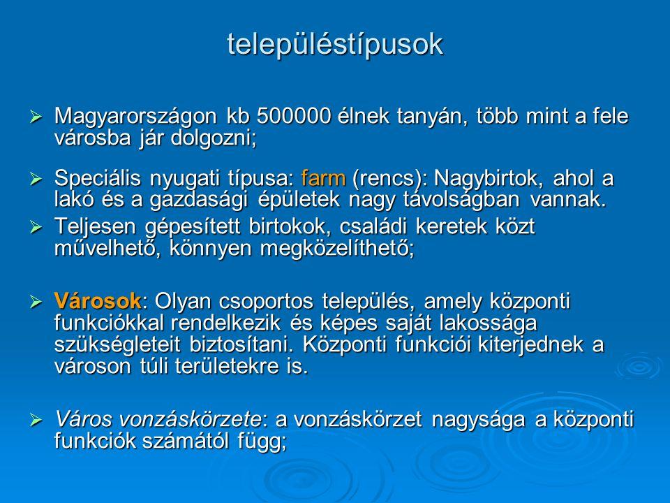 településtípusok  Magyarországon kb 500000 élnek tanyán, több mint a fele városba jár dolgozni;  Speciális nyugati típusa: farm (rencs): Nagybirtok,