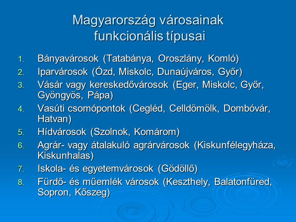 Magyarország városainak funkcionális típusai 1. Bányavárosok (Tatabánya, Oroszlány, Komló) 2. Iparvárosok (Ózd, Miskolc, Dunaújváros, Győr) 3. Vásár v