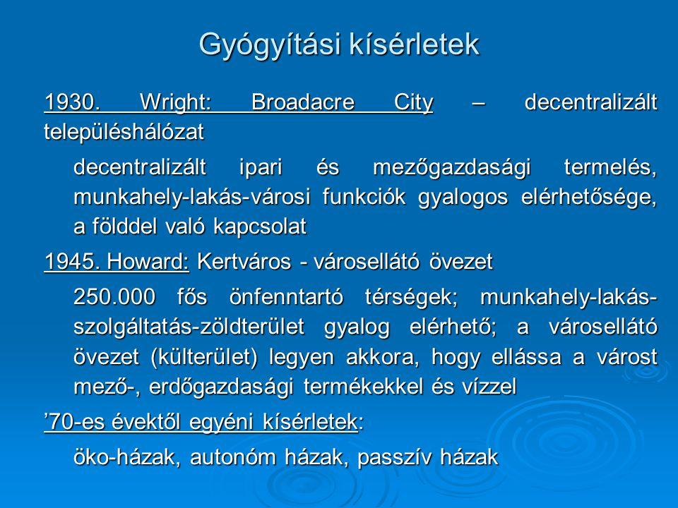 Gyógyítási kísérletek 1930. Wright: Broadacre City – decentralizált településhálózat 1930. Wright: Broadacre City – decentralizált településhálózat de