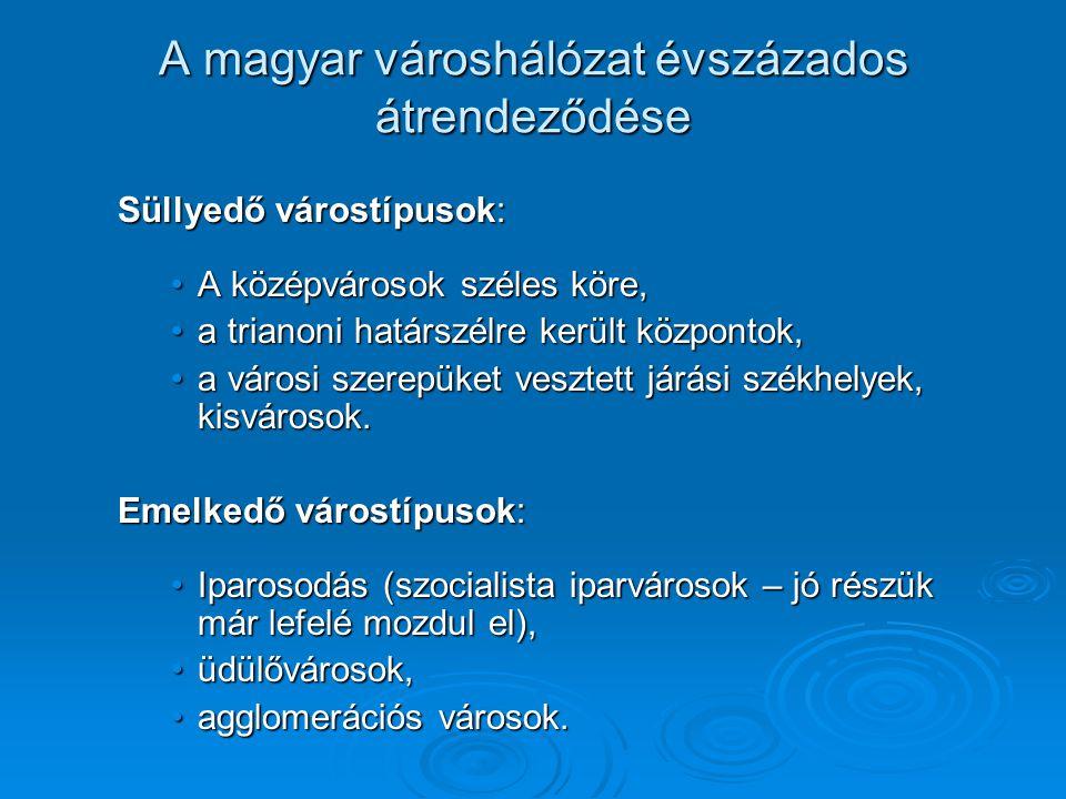 A magyar városhálózat évszázados átrendeződése Süllyedő várostípusok: A középvárosok széles köre,A középvárosok széles köre, a trianoni határszélre ke
