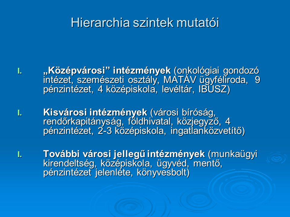 """Hierarchia szintek mutatói I. """"Középvárosi"""" intézmények (onkológiai gondozó intézet, szemészeti osztály, MATÁV ügyféliroda, 9 pénzintézet, 4 középisko"""