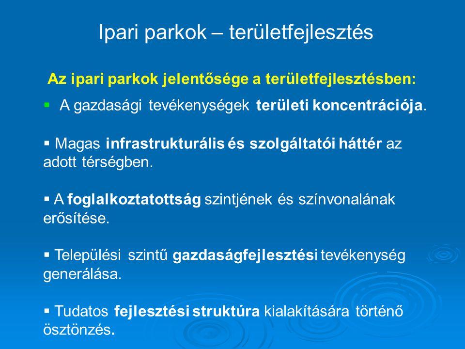 Ipari parkok – területfejlesztés Az ipari parkok jelentősége a területfejlesztésben :  A gazdasági tevékenységek területi koncentrációja.  Magas inf