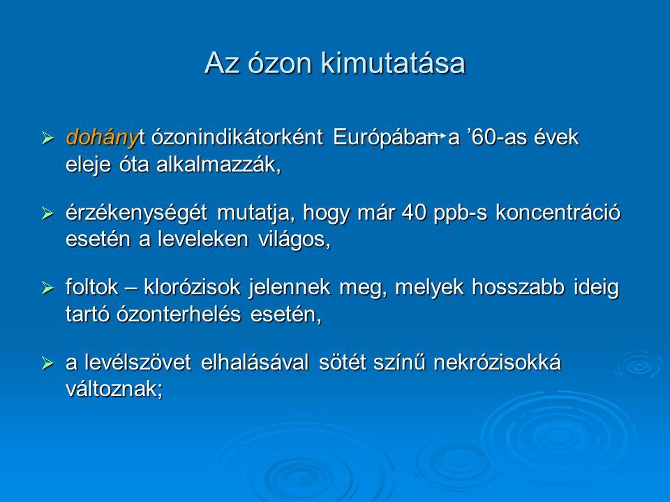Az ózon kimutatása  dohányt ózonindikátorként Európában a '60-as évek eleje óta alkalmazzák,  érzékenységét mutatja, hogy már 40 ppb-s koncentráció