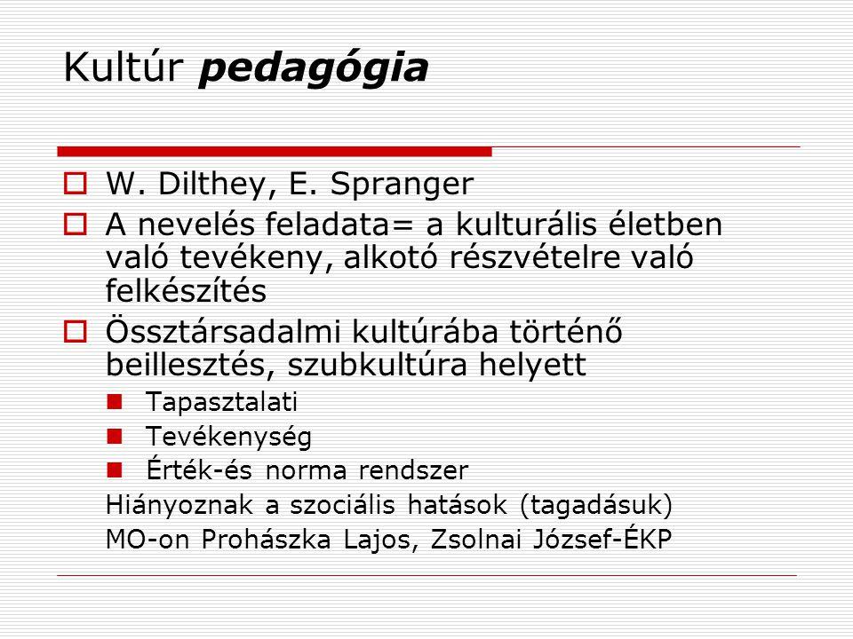 Kultúr pedagógia  W.Dilthey, E.