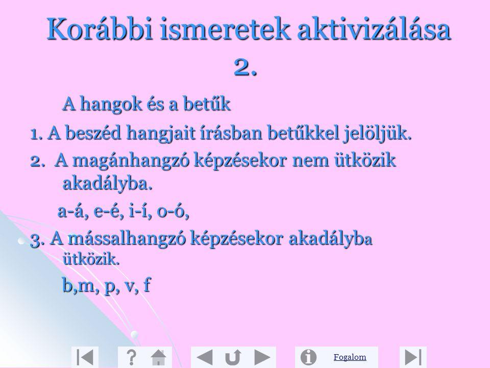 Fogalom Korábbi ismeretek aktivizálása 1. A beszéd és az írás Gondolatainkat legtöbbször beszédben vagy írásban közöljük, de másképpen is kifejezhetjü