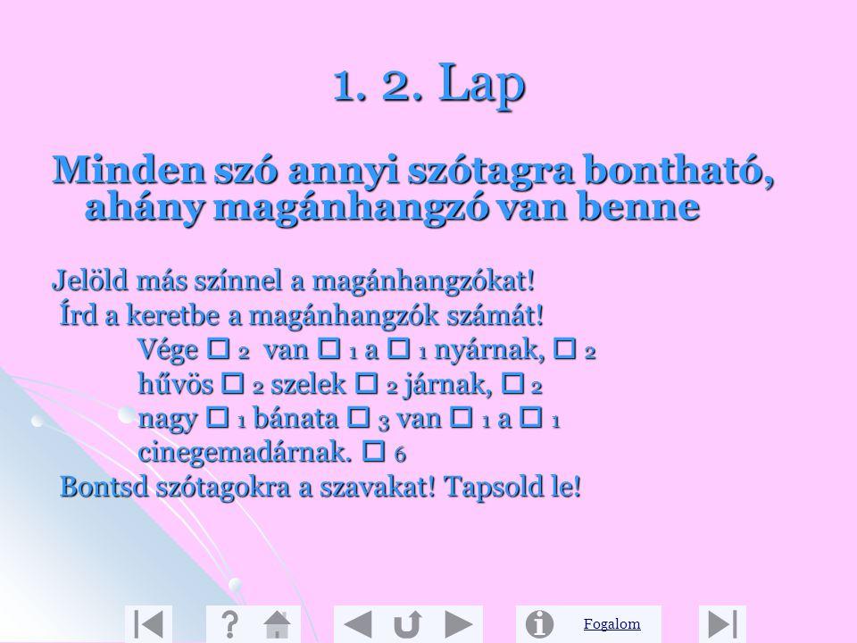 Fogalom Új ismeretek 1. 1. Lap A szavak szótagokra bonthatók A szavak szótagokra bonthatók A gyerekek úgy döntöttek, hogy fogócskázni fognak. A fogót
