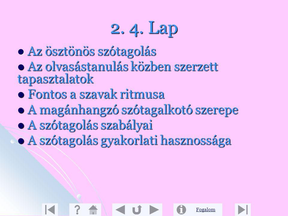 Fogalom 2. 3. Lap Az elválasztás tanítása négy egységre bontható Elválasztás magánhangzók között Elválasztás magánhangzók között Hová kerül a mássalha
