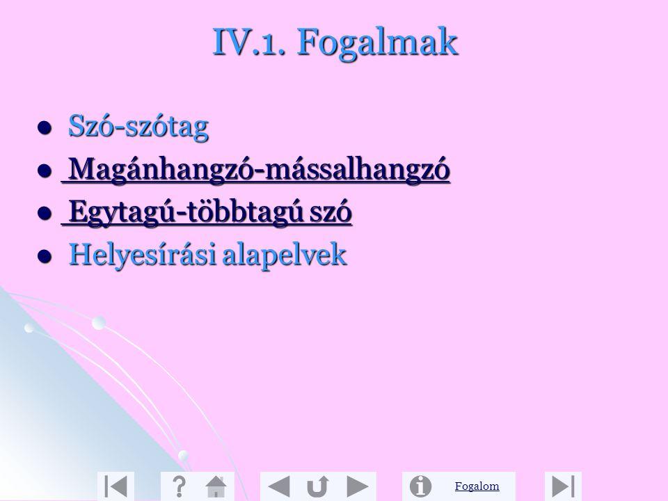 Fogalom IV. Egyéb Ajánlás: http://www.apaczai.hu http://www.apaczai.hu http://www http://www