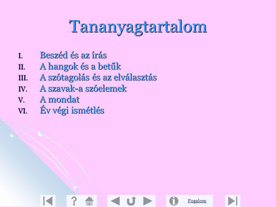 Fogalom Tartalmi leírás 2. A második évfolyamon kezdjük el az anyanyelvi ismeretek rendszerbe foglalását, a nyelvi jelenségek, törvényszerűségek megfi
