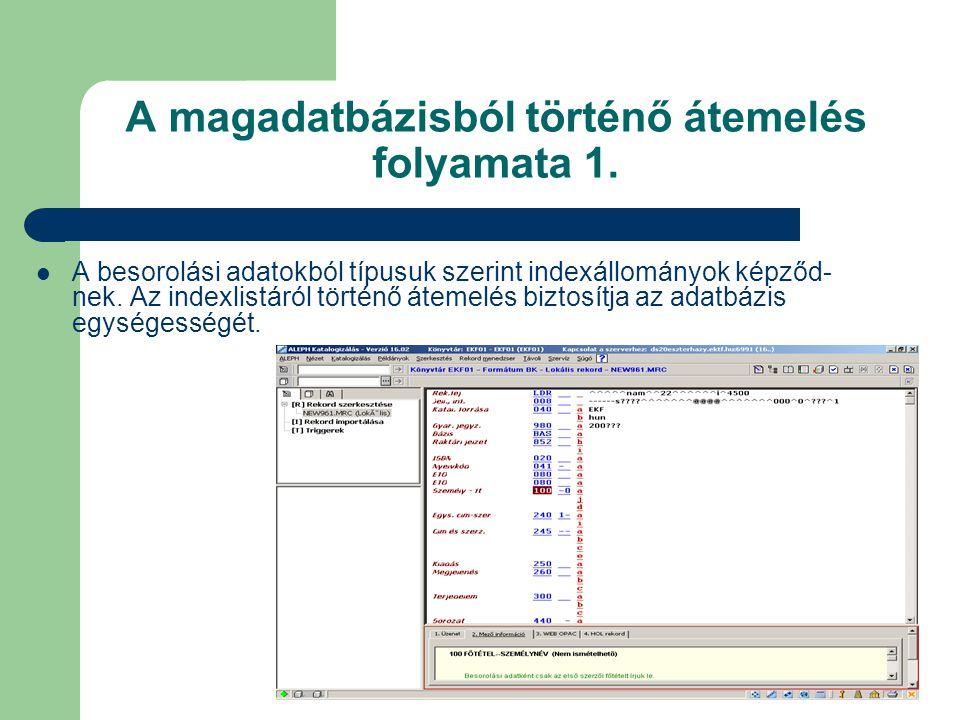 A magadatbázisból történő átemelés folyamata 1. A besorolási adatokból típusuk szerint indexállományok képződ- nek. Az indexlistáról történő átemelés