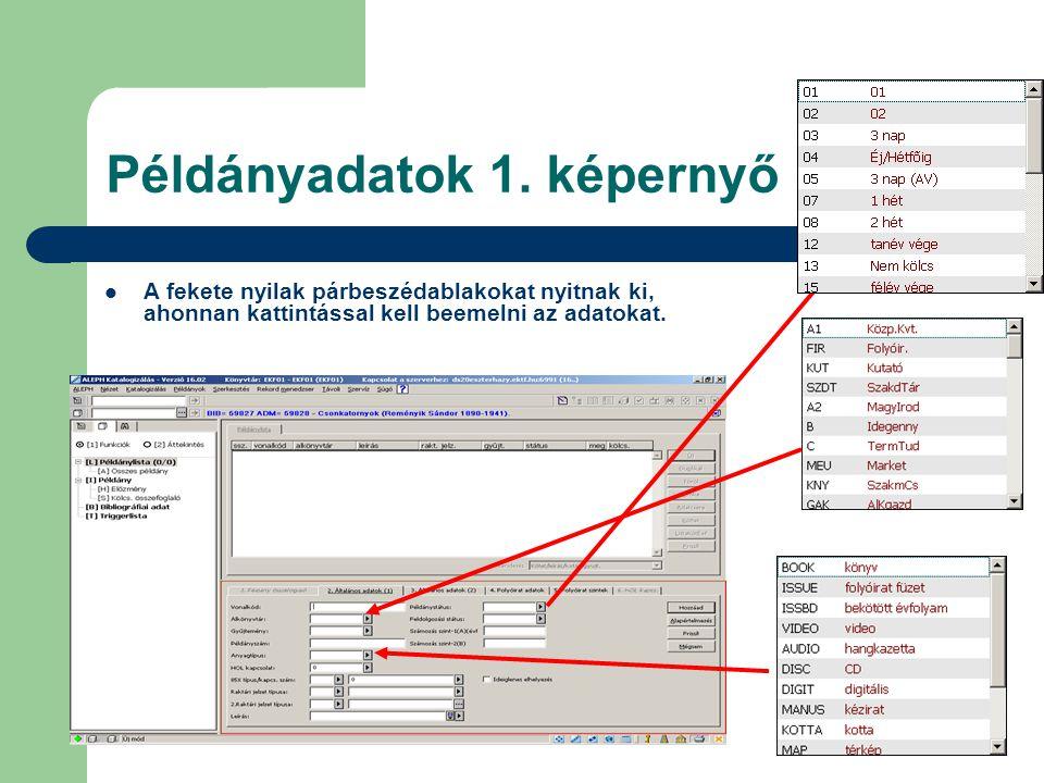 Példányadatok 1. képernyő A fekete nyilak párbeszédablakokat nyitnak ki, ahonnan kattintással kell beemelni az adatokat.