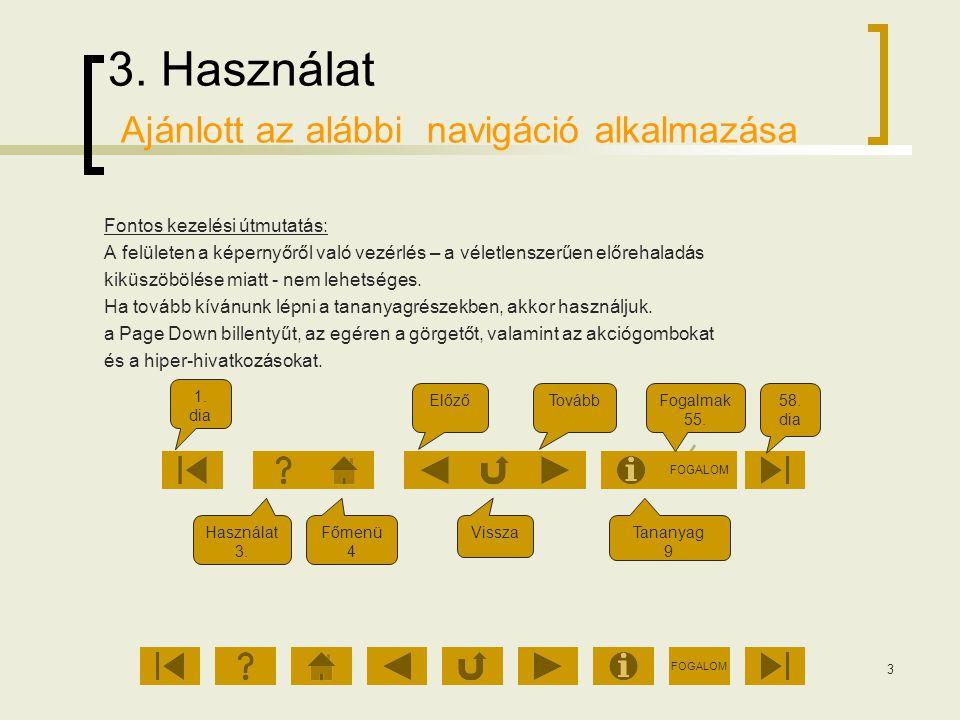 FOGALOM 3 3. Használat Ajánlott az alábbi navigáció alkalmazása Fontos kezelési útmutatás: A felületen a képernyőről való vezérlés – a véletlenszerűen