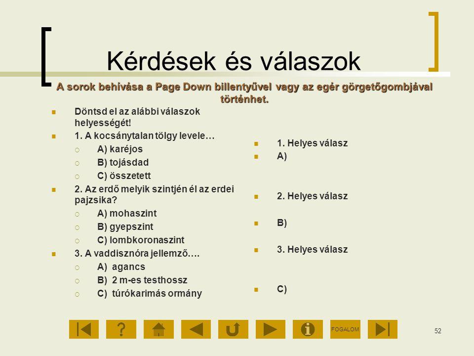 FOGALOM 52 Kérdések és válaszok Döntsd el az alábbi válaszok helyességét! 1. A kocsánytalan tölgy levele…  A) karéjos  B) tojásdad  C) összetett 2.