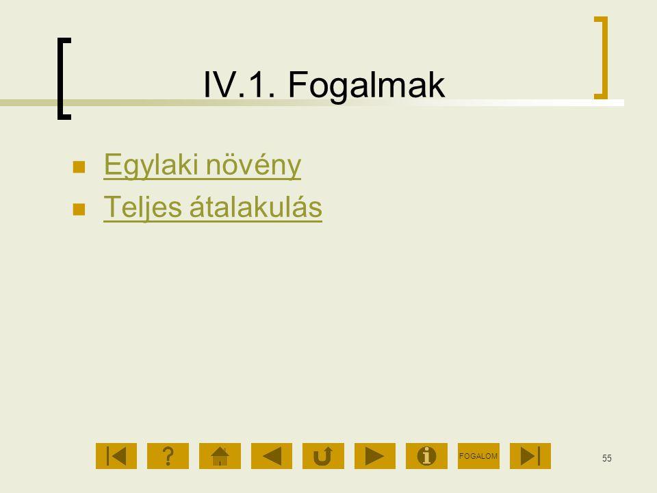 FOGALOM 55 IV.1. Fogalmak Egylaki növény Teljes átalakulás