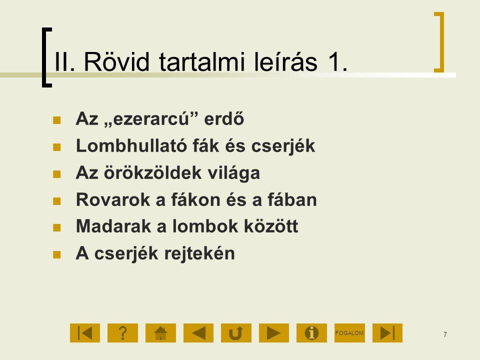 FOGALOM 8 II.Rövid tartalmi leírás 2.