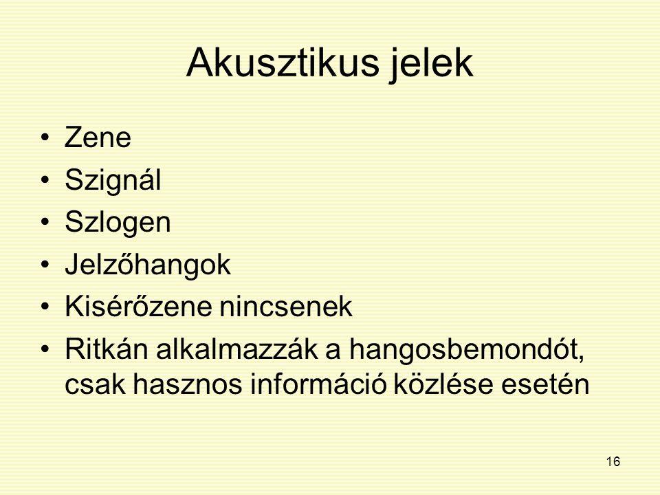 16 Akusztikus jelek Zene Szignál Szlogen Jelzőhangok Kisérőzene nincsenek Ritkán alkalmazzák a hangosbemondót, csak hasznos információ közlése esetén
