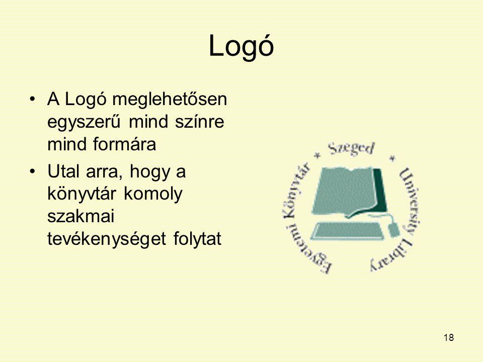 18 Logó A Logó meglehetősen egyszerű mind színre mind formára Utal arra, hogy a könyvtár komoly szakmai tevékenységet folytat