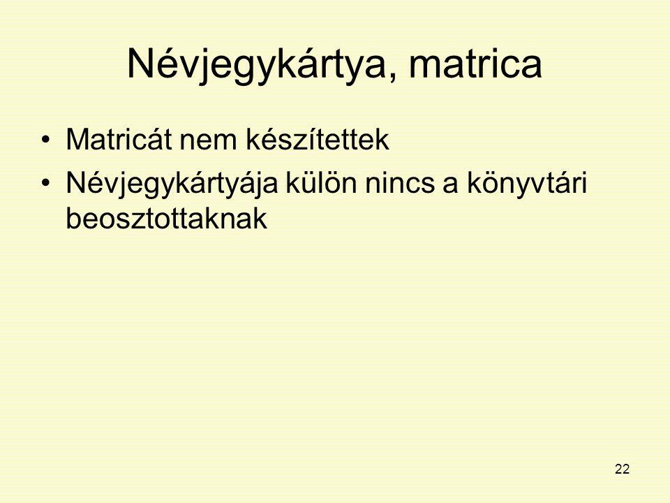 22 Névjegykártya, matrica Matricát nem készítettek Névjegykártyája külön nincs a könyvtári beosztottaknak