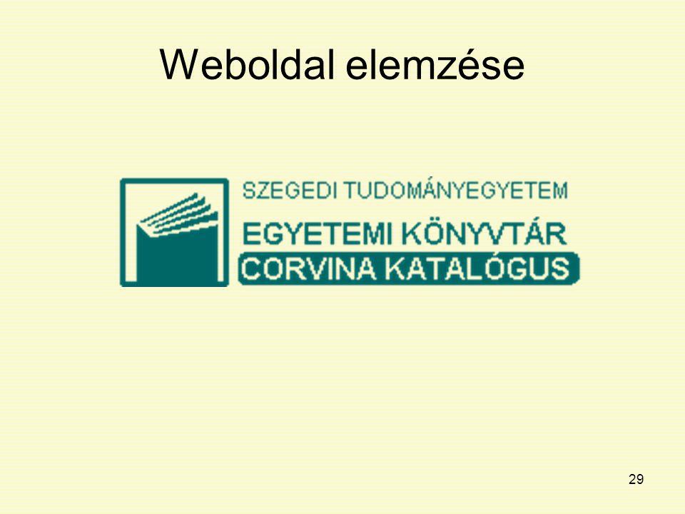 29 Weboldal elemzése