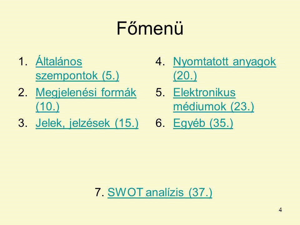 4 Főmenü 1.Általános szempontok (5.)Általános szempontok (5.) 2.Megjelenési formák (10.)Megjelenési formák (10.) 3.Jelek, jelzések (15.)Jelek, jelzése