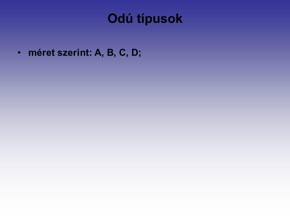Odú típusok méret szerint: A, B, C, D;