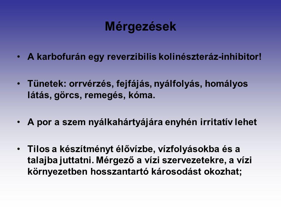 Mérgezések A karbofurán egy reverzibilis kolinészteráz-inhibitor! Tünetek: orrvérzés, fejfájás, nyálfolyás, homályos látás, görcs, remegés, kóma. A po