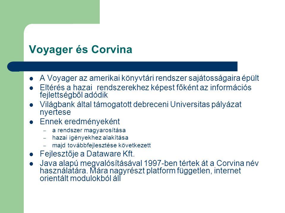 A Corvina funkciói Teljes könyvtári munkafolyamat számítógépes kezelése – katalogizálástól a kölcsönzésig – szerzeményezéstől a folyóiratok érkeztetéséig Alkalmas a multimédiás rekordok létrehozására – kép, hang vagy film fájlok is kapcsolódhatnak – közvetlen elérés pl.