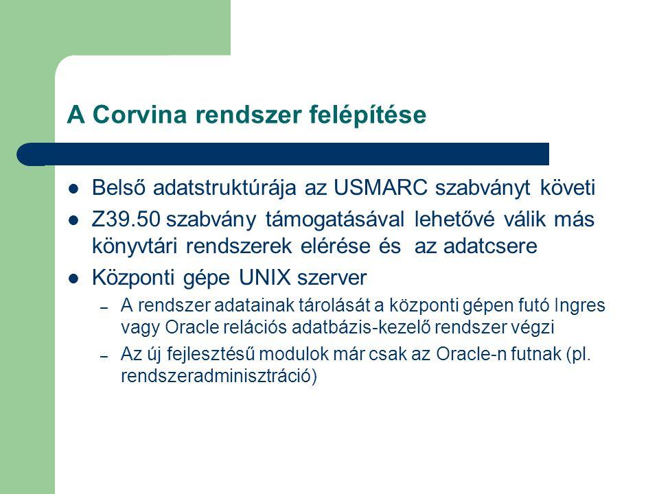 A Corvina rendszer felépítése Belső adatstruktúrája az USMARC szabványt követi Z39.50 szabvány támogatásával lehetővé válik más könyvtári rendszerek e