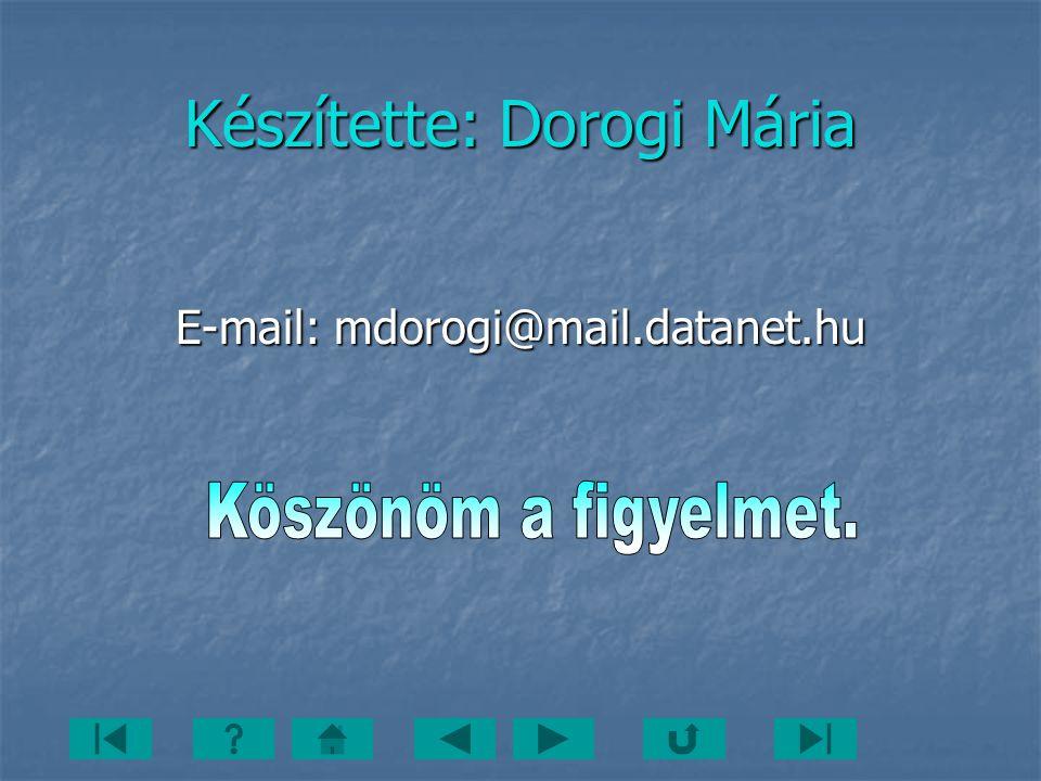 Készítette: Dorogi Mária E-mail: mdorogi@mail.datanet.hu