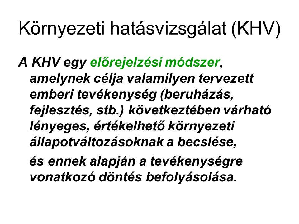 Környezeti hatásvizsgálat (KHV) A KHV egy előrejelzési módszer, amelynek célja valamilyen tervezett emberi tevékenység (beruházás, fejlesztés, stb.) k