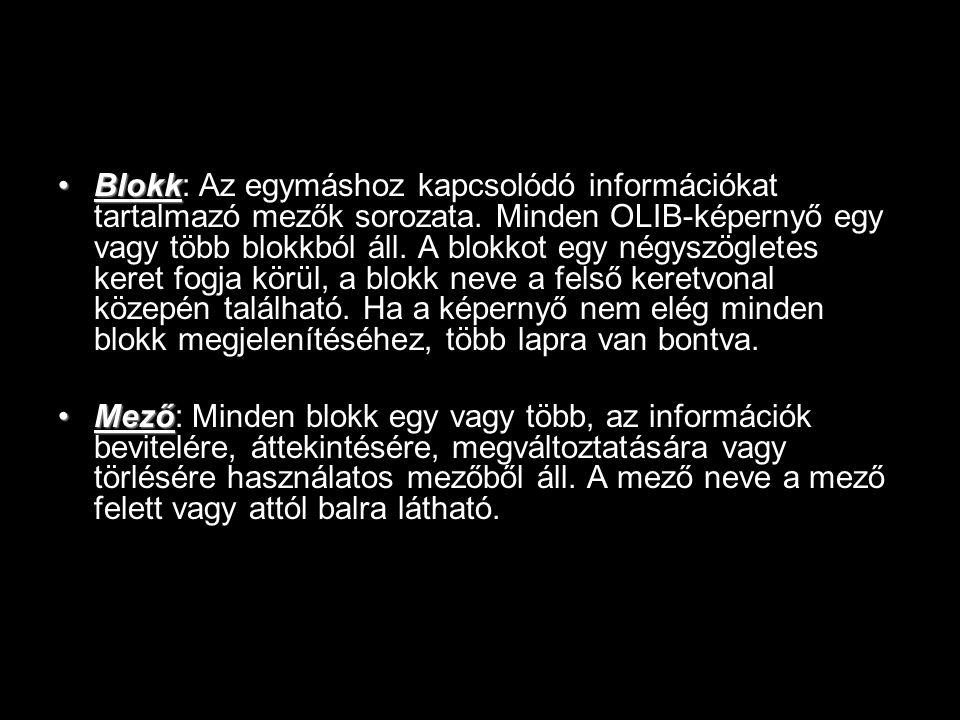 BlokkBlokk: Az egymáshoz kapcsolódó információkat tartalmazó mezők sorozata. Minden OLIB-képernyő egy vagy több blokkból áll. A blokkot egy négyszögle