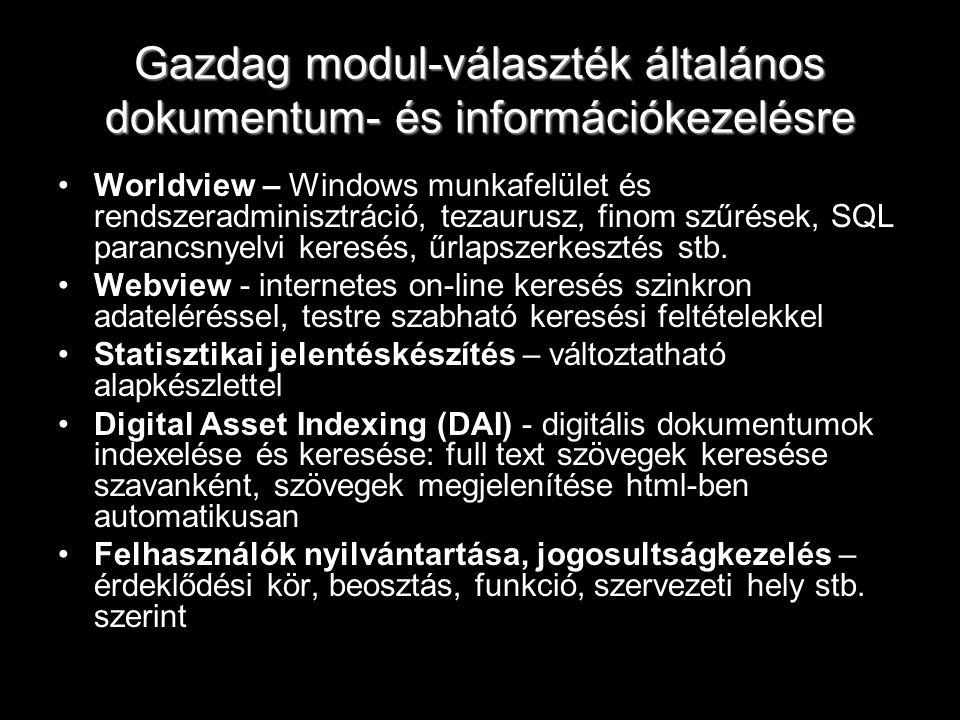 Gazdag modul-választék általános dokumentum- és információkezelésre Worldview – Windows munkafelület és rendszeradminisztráció, tezaurusz, finom szűré
