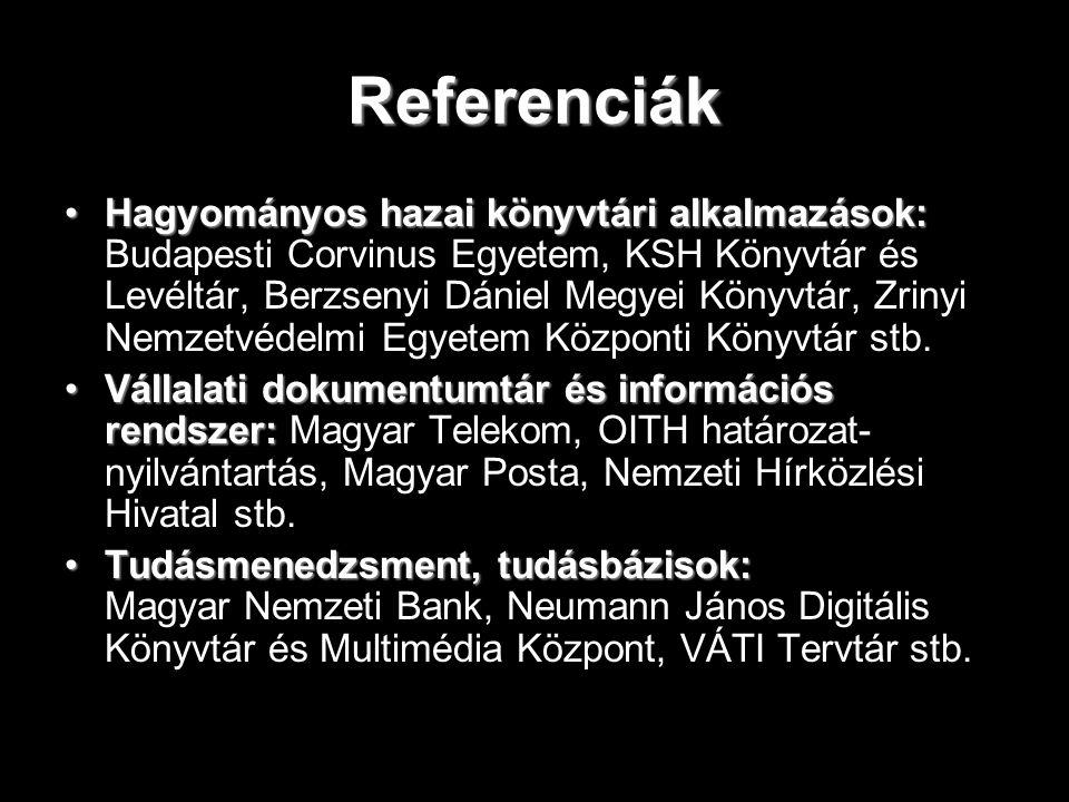 Referenciák Hagyományos hazai könyvtári alkalmazások:Hagyományos hazai könyvtári alkalmazások: Budapesti Corvinus Egyetem, KSH Könyvtár és Levéltár, B