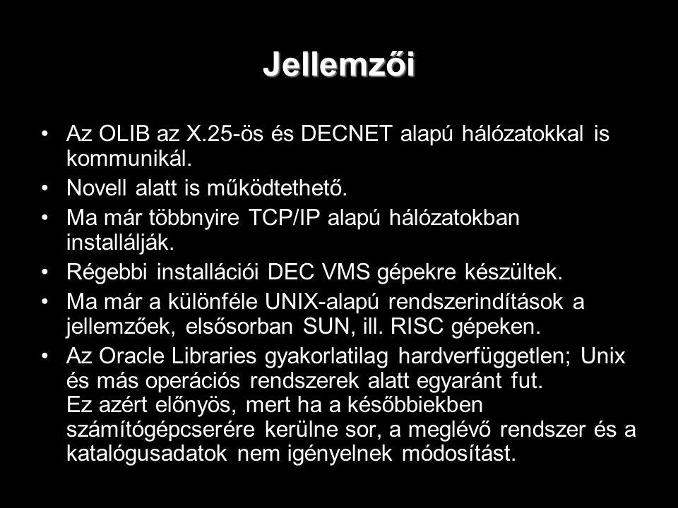 Jellemzői Az OLIB az X.25-ös és DECNET alapú hálózatokkal is kommunikál. Novell alatt is működtethető. Ma már többnyire TCP/IP alapú hálózatokban inst