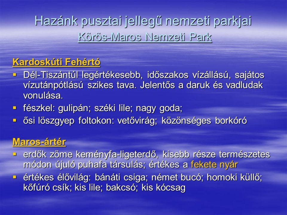Hazánk pusztai jellegű nemzeti parkjai Körös-Maros Nemzeti Park Kardoskúti Fehértó  Dél-Tiszántúl legértékesebb, időszakos vízállású, sajátos vízután