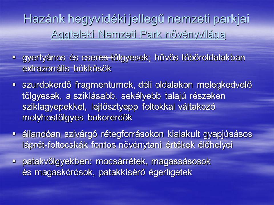 Hazánk hegyvidéki jellegű nemzeti parkjai Aggteleki Nemzeti Park növényvilága  gyertyános és cseres tölgyesek; hűvös töböroldalakban extrazonális bük