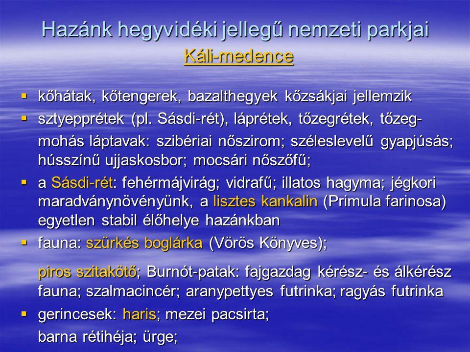 Hazánk hegyvidéki jellegű nemzeti parkjai Káli-medence  kőhátak, kőtengerek, bazalthegyek kőzsákjai jellemzik  sztyepprétek (pl. Sásdi-rét), lápréte