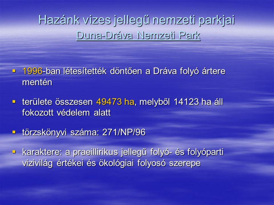 Hazánk vizes jellegű nemzeti parkjai Duna-Dráva Nemzeti Park  1996-ban létesítették döntően a Dráva folyó ártere mentén  területe összesen 49473 ha,